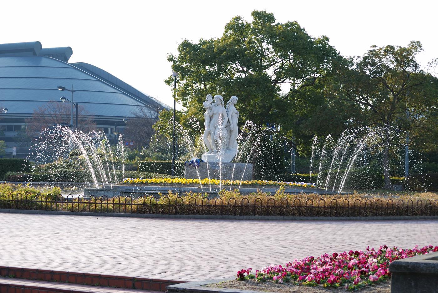 広島城の近くの噴水