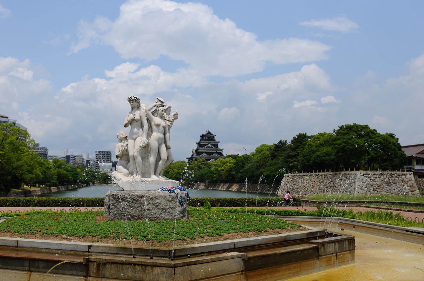 噴水と広島城
