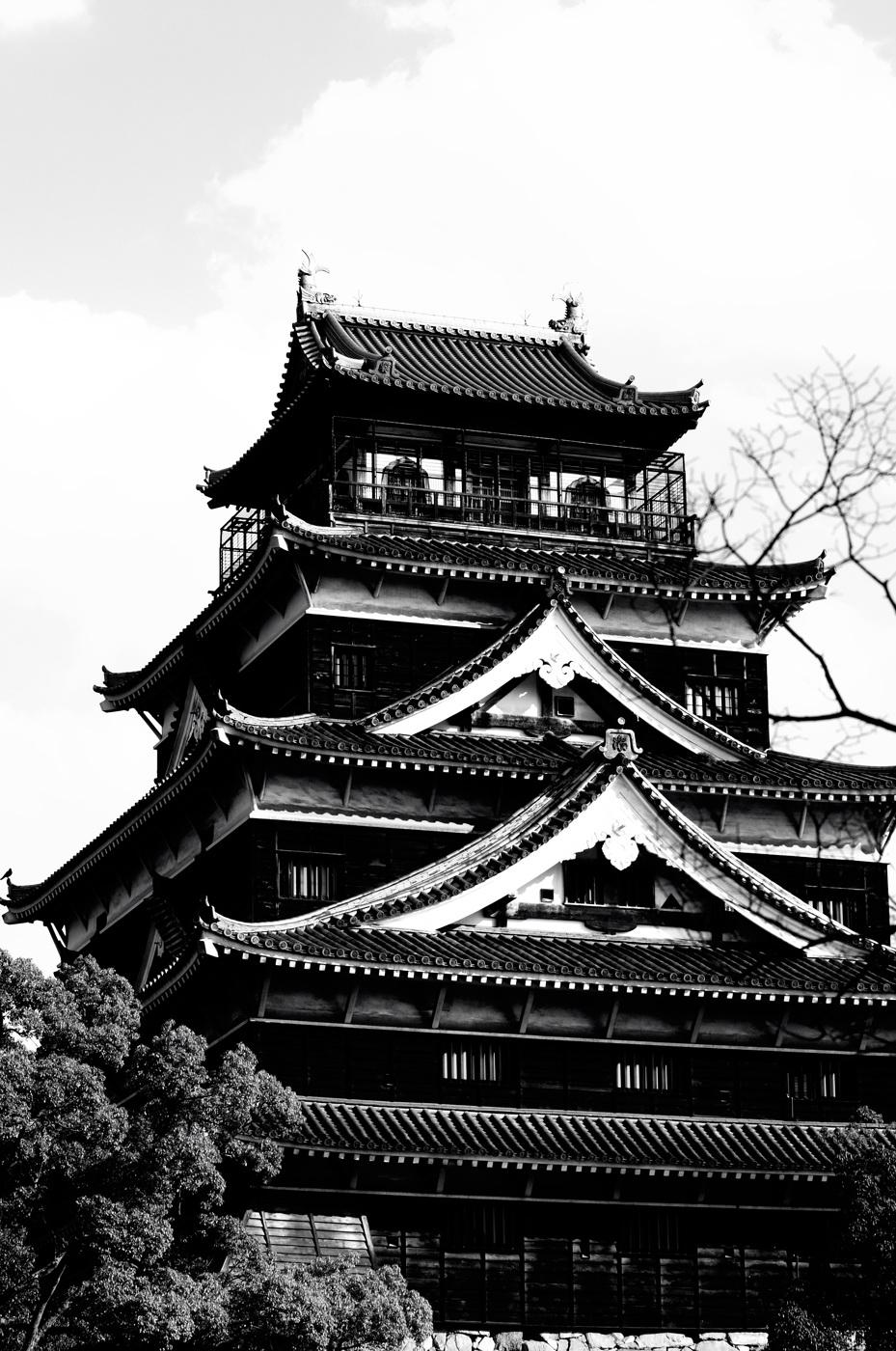 コントラストを上げたモノクロの広島城だじぇ