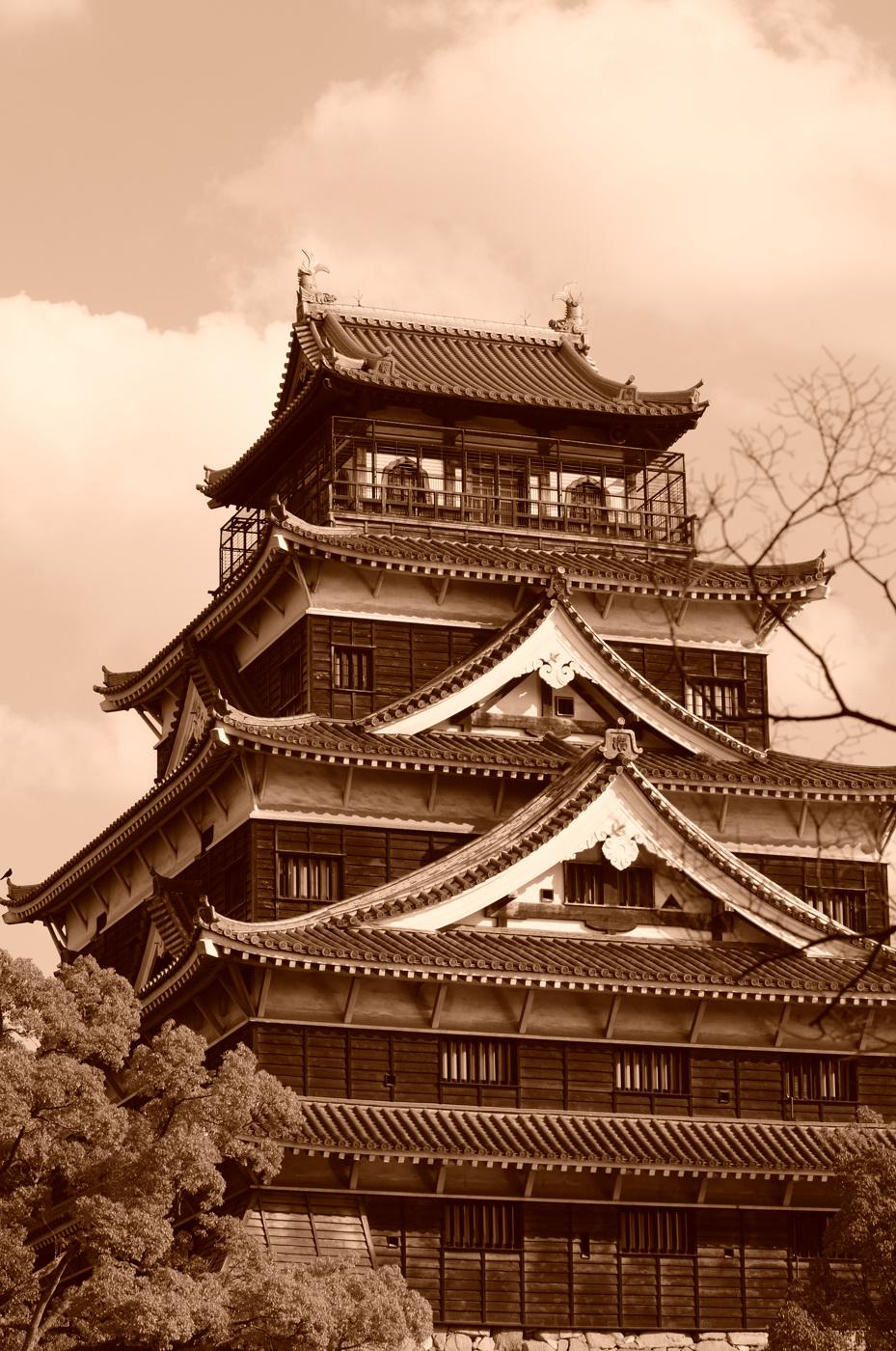 セピアな広島城だじぇ~