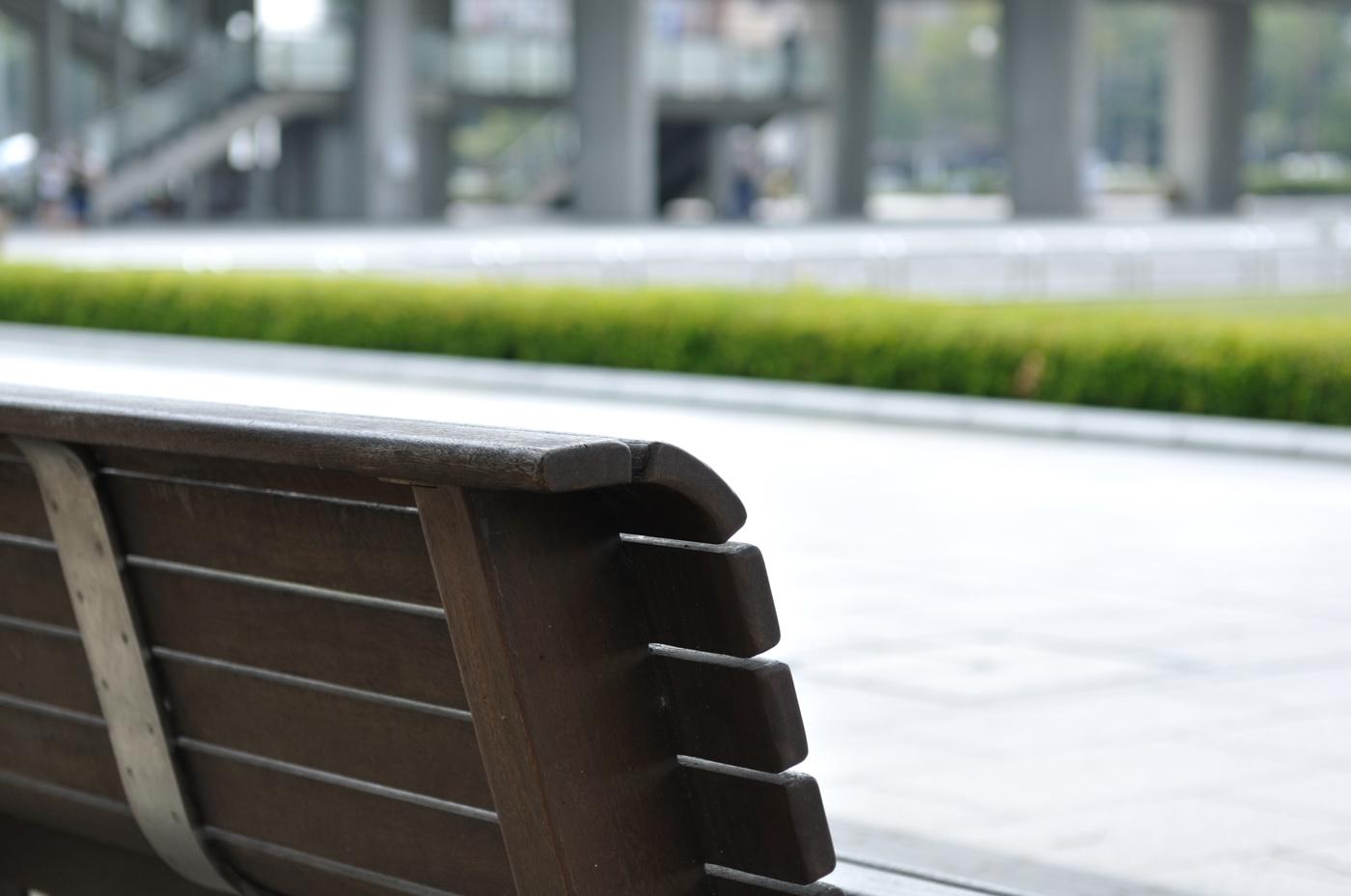 平和公園のベンチとボケ