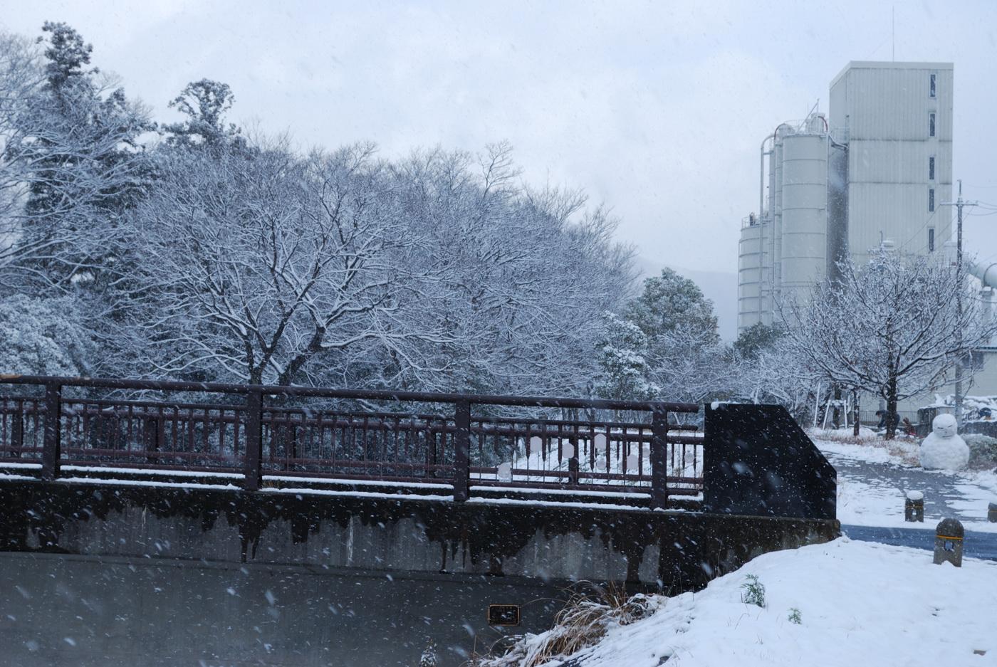 橋と雪だるま