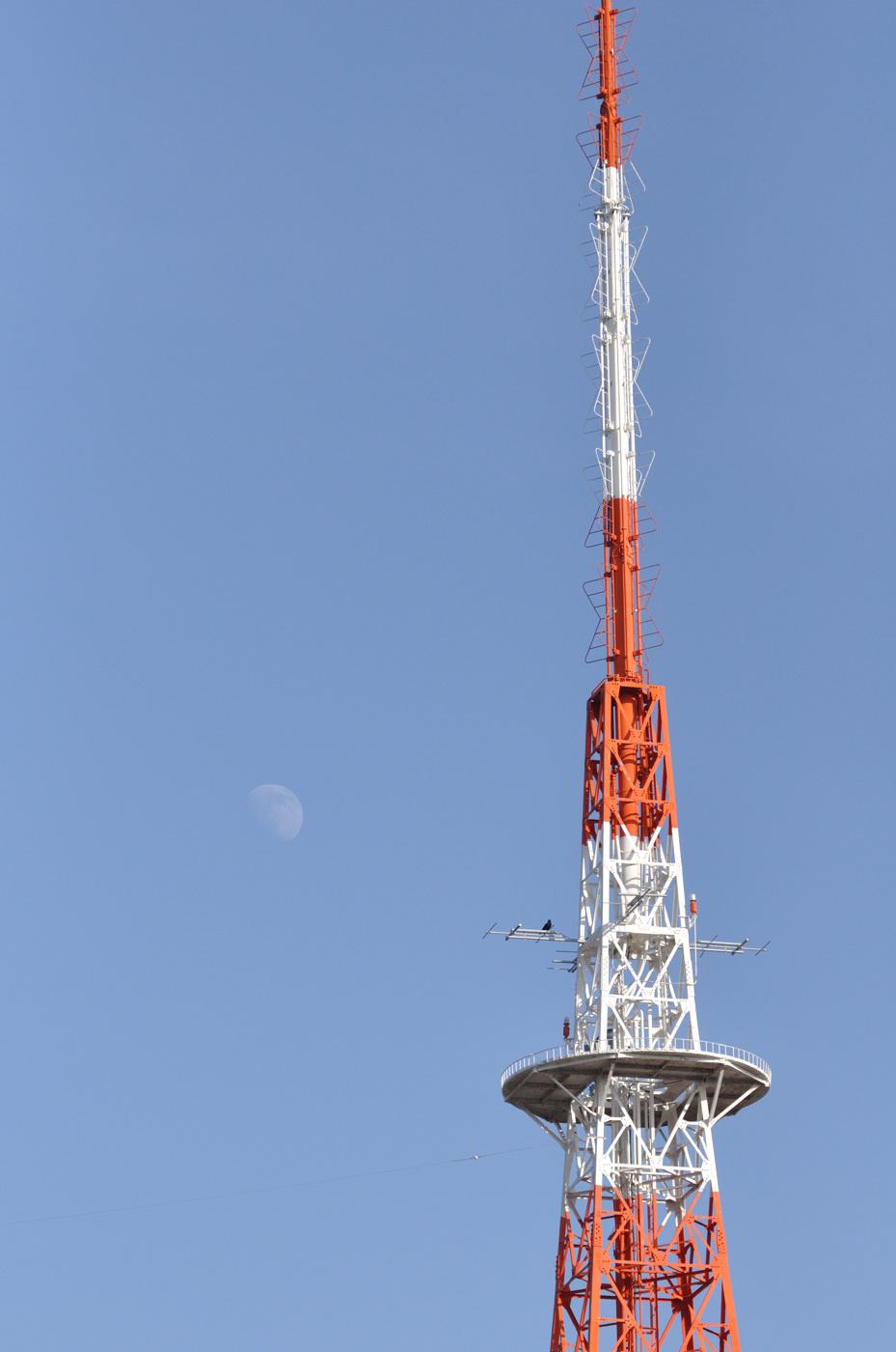 月と鉄塔とカラス